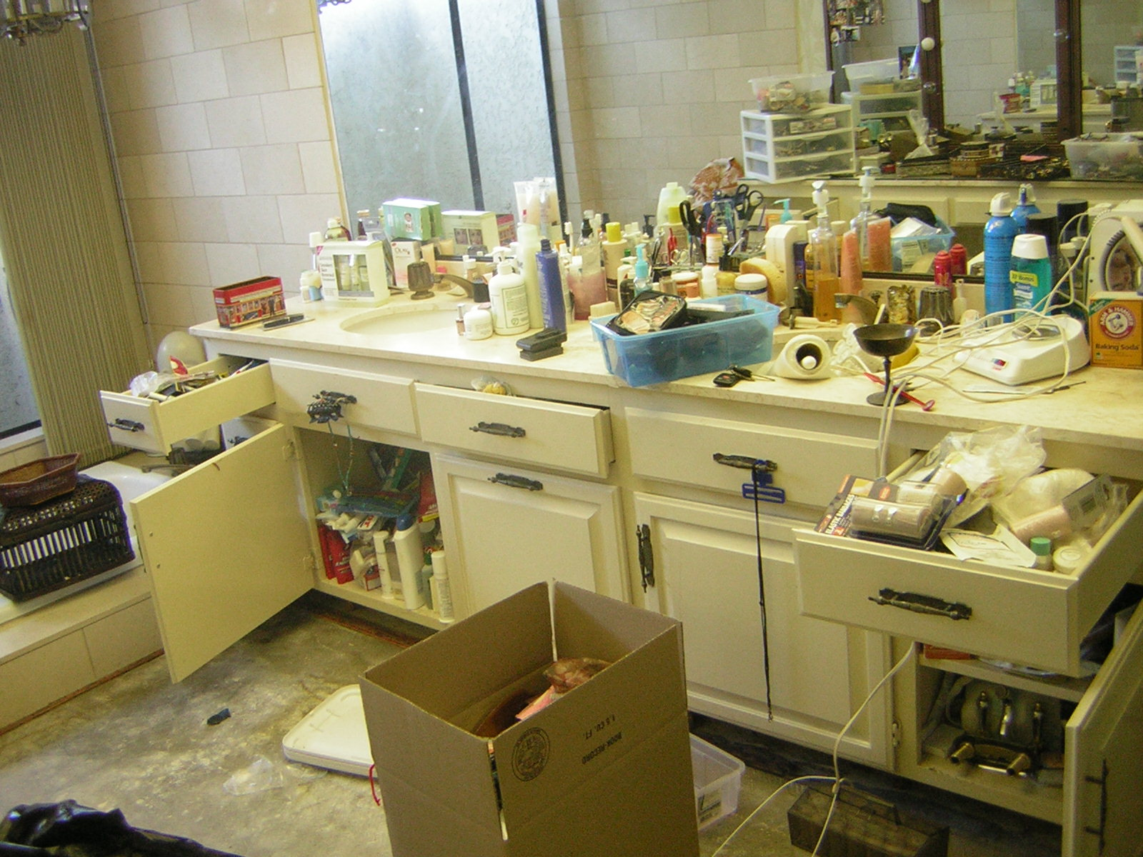 And clutter in this particular bathroom was a product of many factors